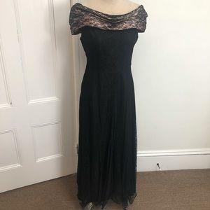 Vintage off shoulder black lace gown